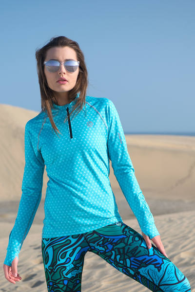 Training sweatshirt with long sleeves Galaxy Turquoise - LBKZ-9G6