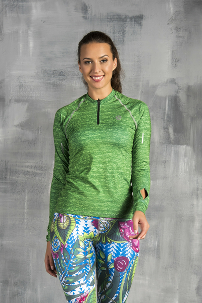 Training sweatshirt with long sleeves Green Melange - LBKZ-612