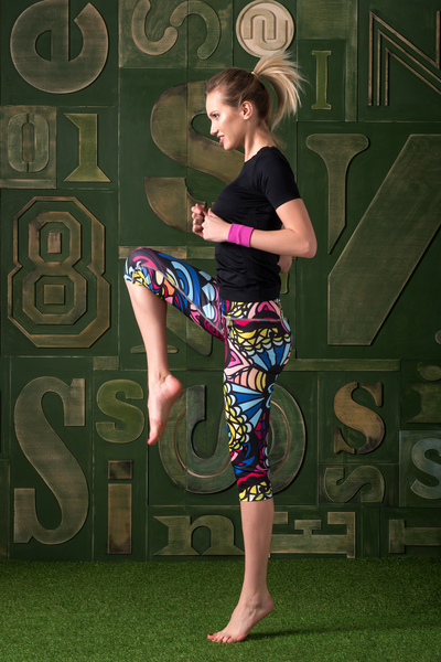 Colorful Leggings 3/4 Mosaic Comics - OSTK-92