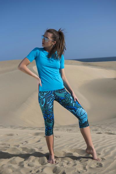 Leggings 3/4 Mosaic Turquoise - OSTK-9M2