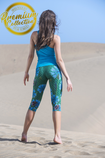 Premium Leggings 3/4 4K UltraHD Cornflowers and Bumblebees - OSTP-1VP