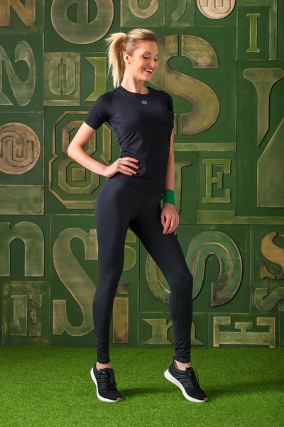 Colorful Running Leggings with a belt Black - OSLPC-90