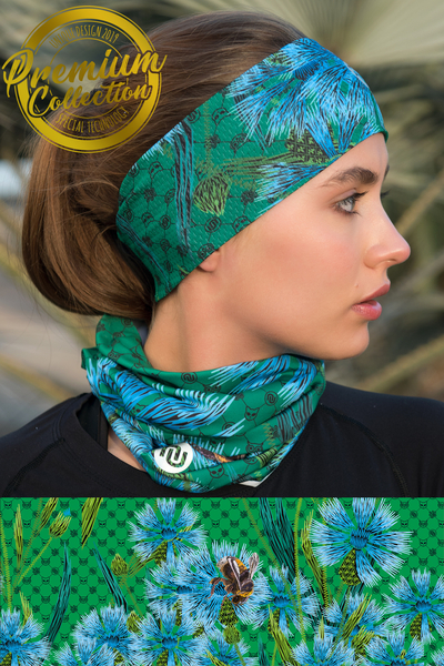 Breathable Summer Neck Warmer Cornflowers and Bumblebees - ABL-1VP