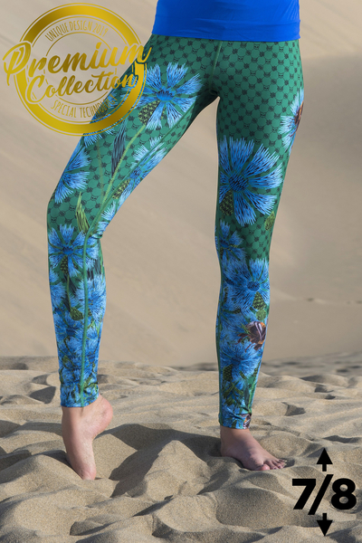 Premium 7/8 Running Leggings with a belt 4K UltraHD Cornflowers and Bumblebees - OSLP-1VP