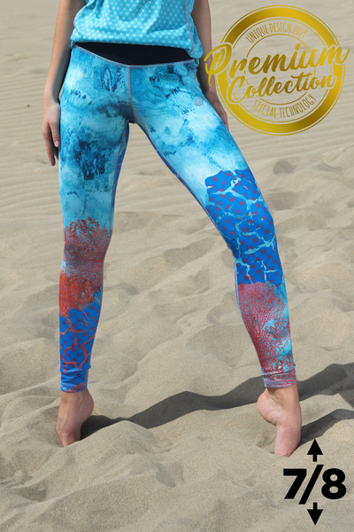 Premium 7/8 Running Leggings with a belt 4K UltraHD Coral Reef - OSLP7-1VR