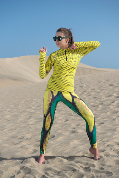 Running Leggings Green Butterfly - OSLZ-9B1