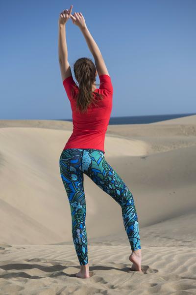 Running Leggings Mosaic Turquoise - OSLZ-9M2
