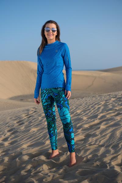 Legginsy Do Biegania Mosaic Turquoise - OSLZ-9M2