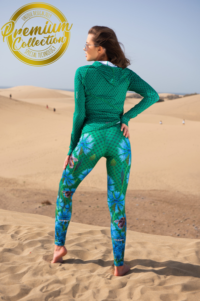 Premium Running Leggings with a belt 4K UltraHD Cornflowers and Bumblebees - OSLP-1VP