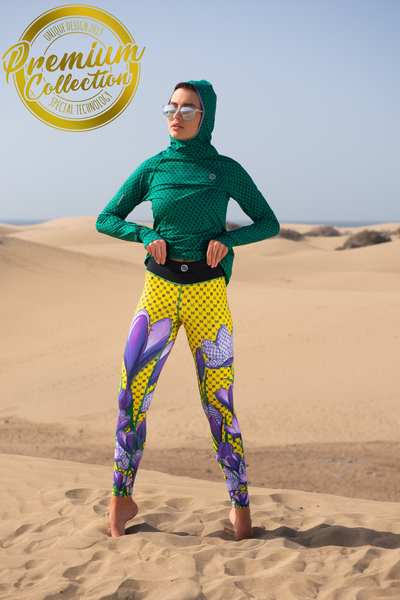 Premium Running Leggings with a belt 4K UltraHD Crocuses - OSLP-1VK