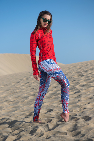 Running Leggings with a belt Aztec - OSLP-9A1