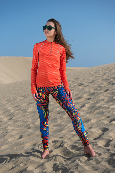 Running Leggings with a belt Ornament Gold - OSLP-9D1