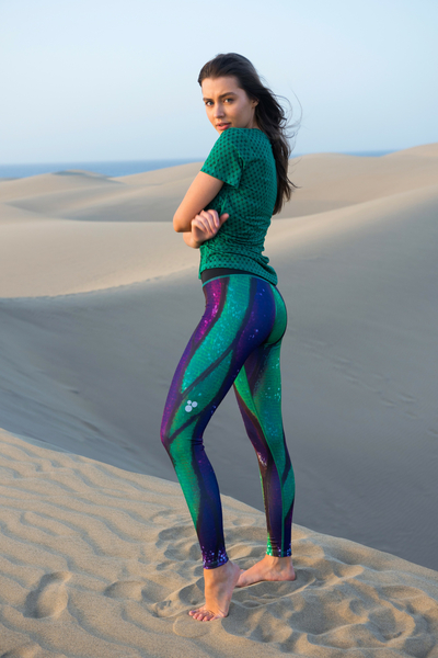 Running Leggings with a belt Violet Butterfly - OSLP-9B3