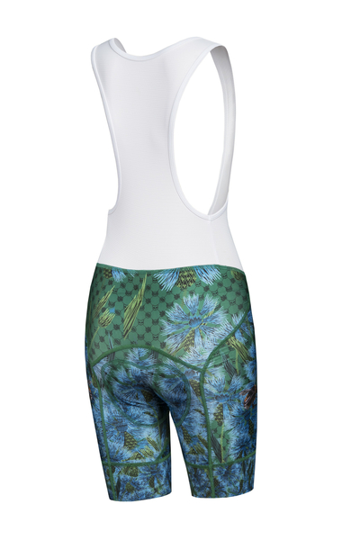 Bike shorts with braces Cornflowers and Bumblebees - KSK-1VP