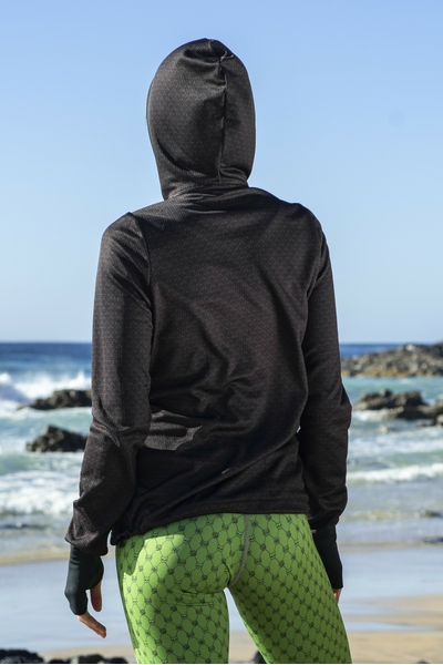 Hooded and zippered sweatshirt Black Mirage - HRDK-11X9