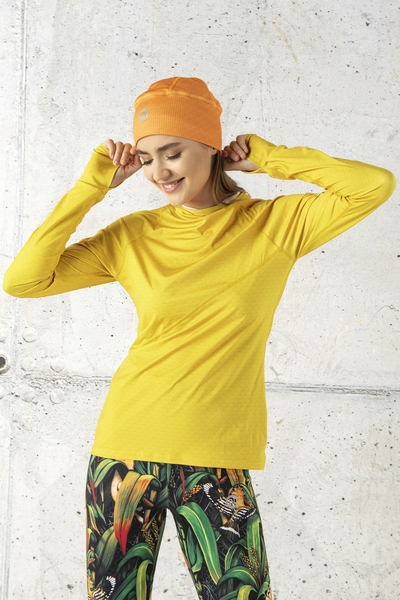 Training sweatshirt with a hood Yellow Mirage - LBK-11X1