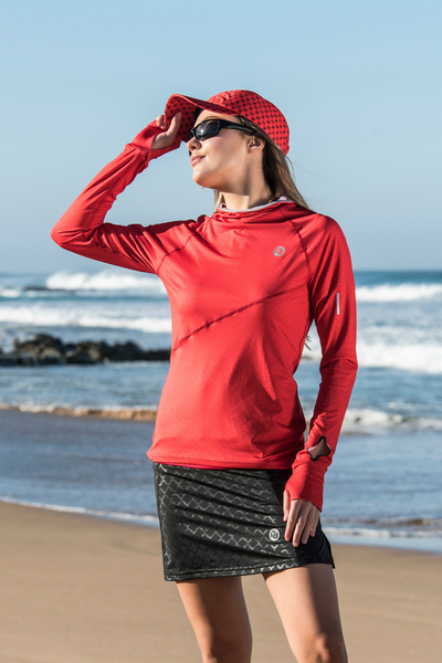 Training sweatshirt with a hood Red Mirage - LBK-11X4