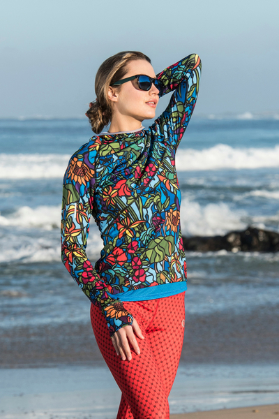 Training sweatshirt with a hood Mosaic Flora - LBK-11M4