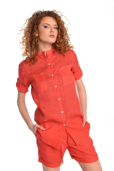 Linen Shirt Melia Red - ILK-20