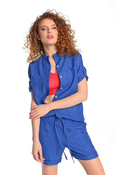 Linen Shirt Melia Blue - ILK-50