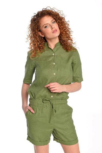 Linen Shirt Melia Green - ILK-40