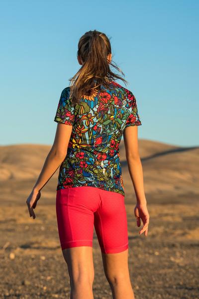 Running T-shirt Zip Mosaic Flora - KSB-11M4