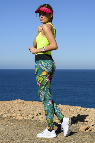 Running Leggings with a belt 4K UltraHD Lily Pond - OSLP-11Z1