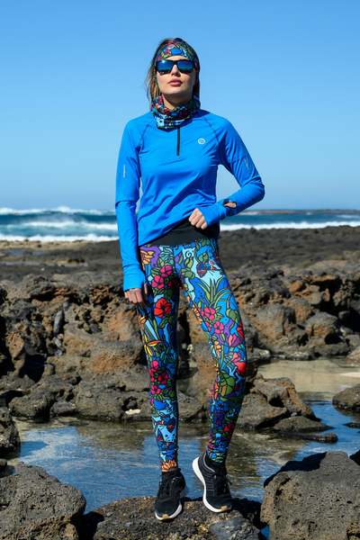 Running Leggings with a belt 4K UltraHD Mosaic Flora - OSLP-11M4