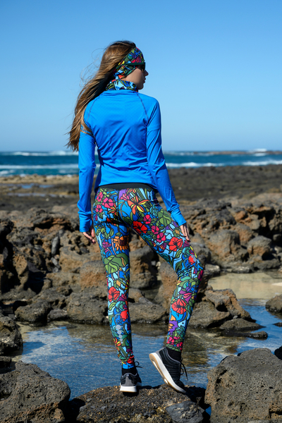 Running Leggings with a belt 4K Ultra HD Mosaic Flora - OSLP-11M4