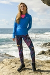 Running Leggings with a belt 4K UltraHD Selva Blue - OSLP-11T3