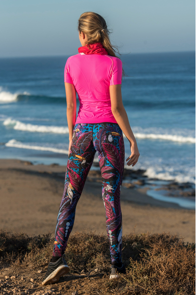 Running Leggings with a belt 4K Ultra HD Selva Blue - OSLP-11T3