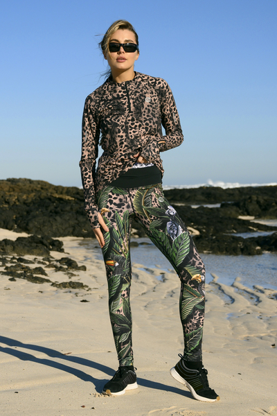 Running Leggings with a belt 4K UltraHD Selva Sand - OSLP-11T1