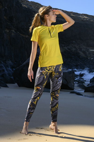 Running Leggings with a belt 4K UltraHD Selva Yellow - OSLP-11T2