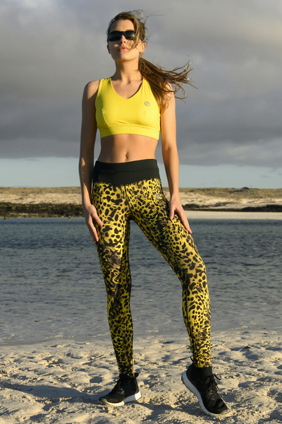 Running Leggings with a belt 4K Ultra HD Yellow Panther - OSLP-11K7