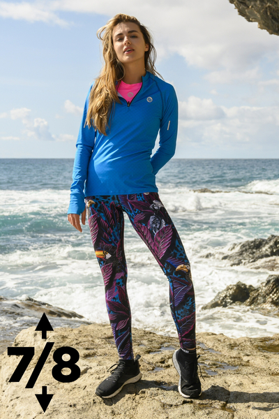 Running Leggings 7/8 with a belt 4K Ultra HD Selva Blue - OSLP7-11T3