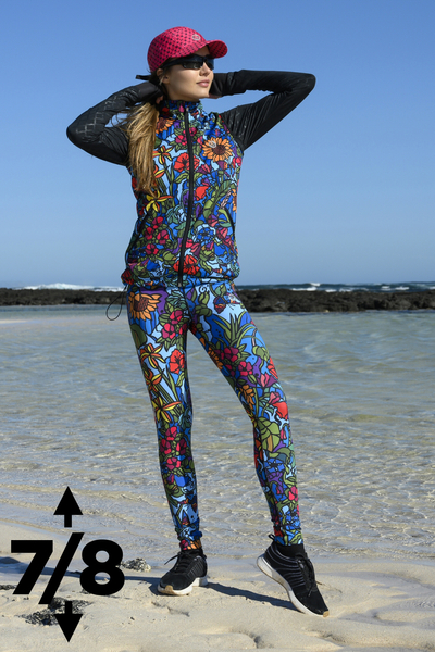 Running Leggings 7/8 with a belt 4K Ultra HD Mosaic Flora - OSLP7-11M4