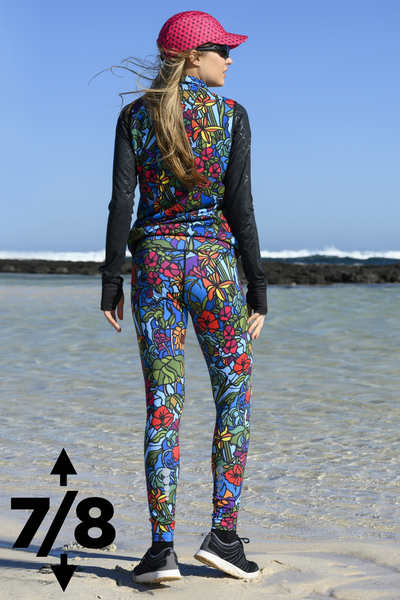Running Leggings 7/8 with a belt 4K UltraHD Mosaic Flora - OSLP7-11M4