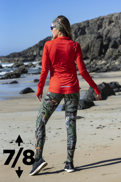 Running Leggings 7/8 with a belt 4K UltraHD Selva Sand - OSLP7-11T1