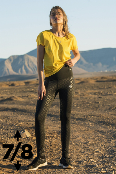 Running Leggings 7/8 Shiny Black - OSLZ7-90