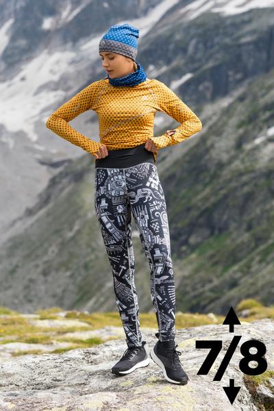 Running Leggings 7/8 with a belt Mosaic Metzli Grey - OSLP7-10M3