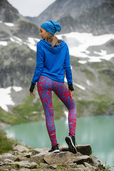 Running Leggings with a belt Panther Red-Blue - OSLP-10K5
