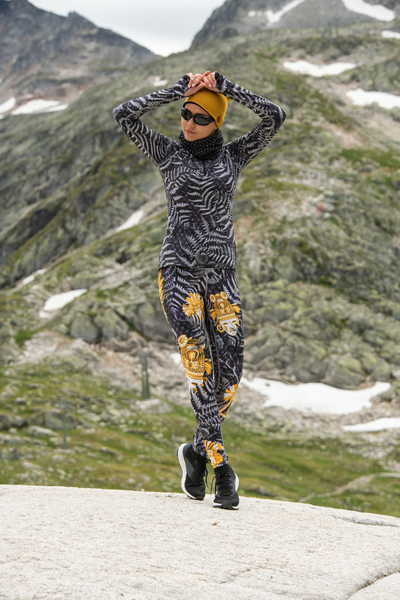 Running Leggings with a belt 4K UltraHD Gold Mask - OSLP-10VM4