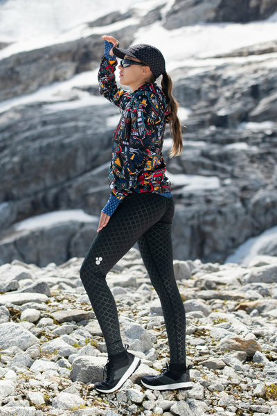 Running Leggings with a belt Shiny Black - OSLP-90