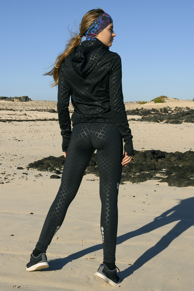 Running Leggings with a belt Shiny Black - OSLP-90L