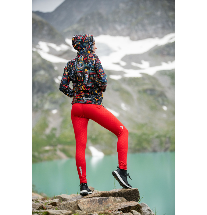 Running Leggings with a belt Shiny Red - OSLP-20 - packshot