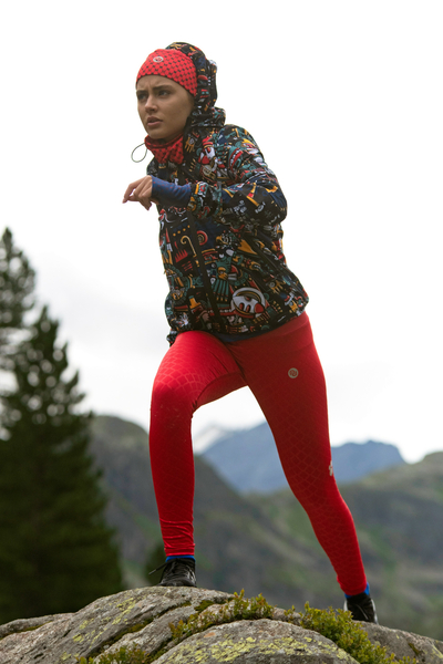 Running Leggings with a belt Shiny Red - OSLP-20
