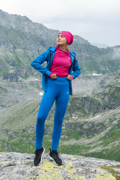 Running Leggings with a belt Shiny Blue - OSLP-50