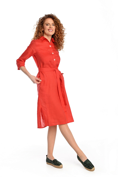 Summer Linen Dress Duna Red - ILD-20