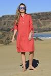Summer Linen Dress Chica Red - ILS-20
