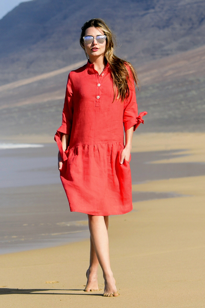 Summer Linen Dress Chica Red - ILS-20